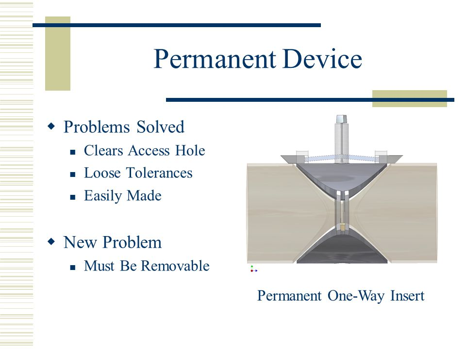 Permanent Device  Problems Solved Clears Access Hole Loose Tolerances Easily Made  New Problem Must Be Removable Permanent One-Way Insert