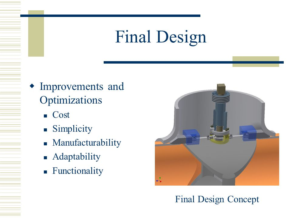 Final Design  Improvements and Optimizations Cost Simplicity Manufacturability Adaptability Functionality Final Design Concept