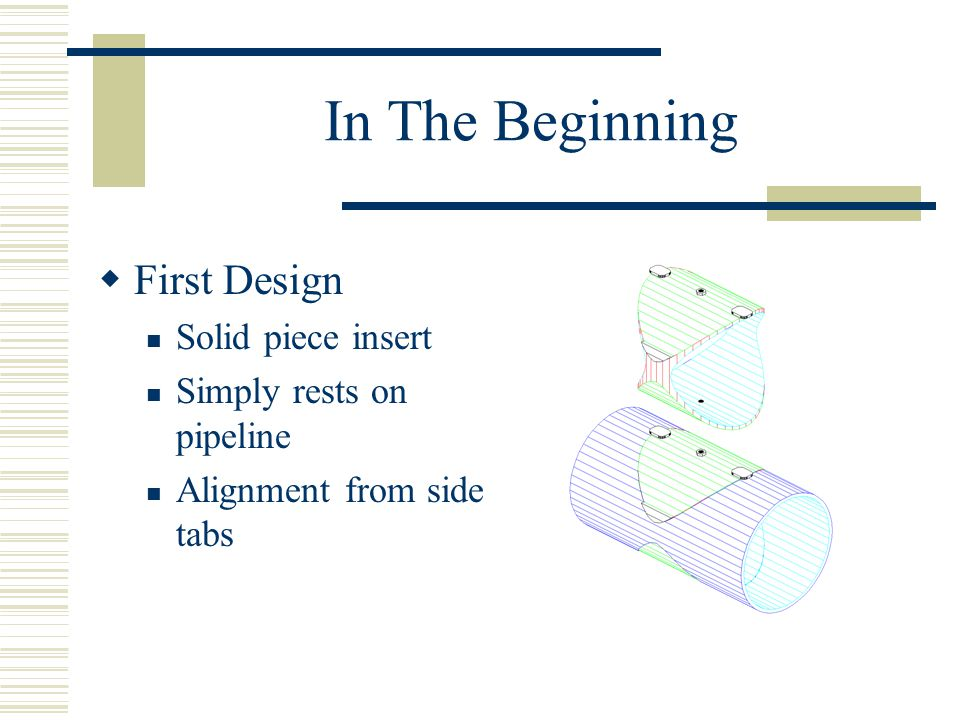 In The Beginning  First Design Solid piece insert Simply rests on pipeline Alignment from side tabs