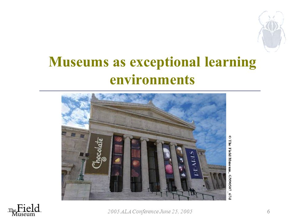 2005 ALA Conference June 25, 20056 Museums as exceptional learning environments © The Field Museum, GN90507_67d