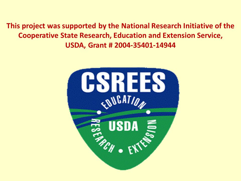 This project was supported by the National Research Initiative of the Cooperative State Research, Education and Extension Service, USDA, Grant # 2004-35401-14944