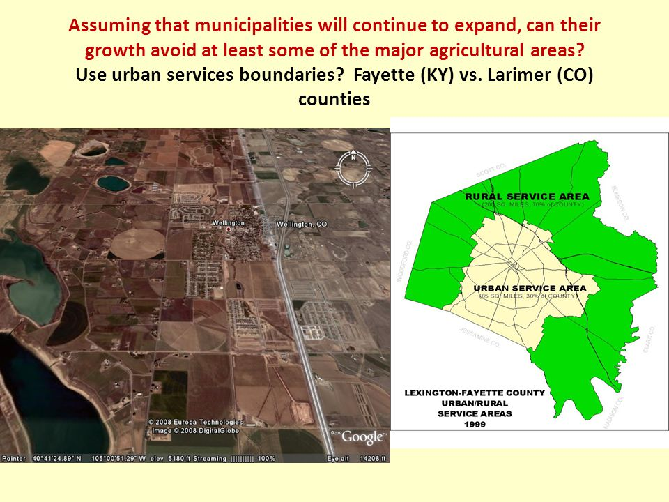Assuming that municipalities will continue to expand, can their growth avoid at least some of the major agricultural areas.