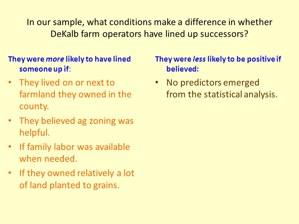 In our sample, what conditions make a difference in whether DeKalb farm operators have lined up successors.