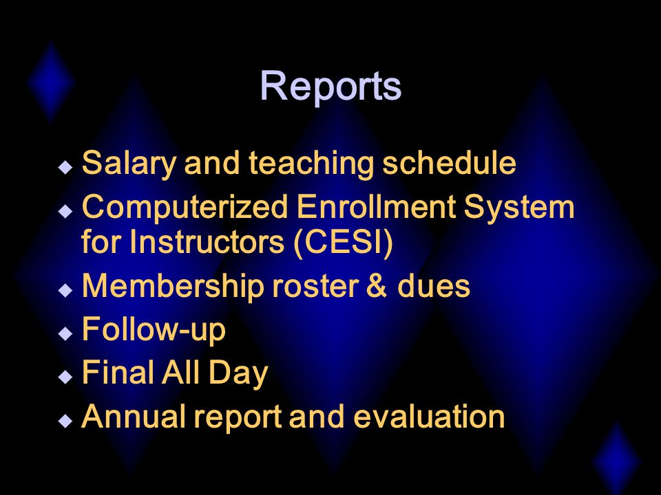 Reports  Salary and teaching schedule  Computerized Enrollment System for Instructors (CESI)  Membership roster & dues  Follow-up  Final All Day  Annual report and evaluation
