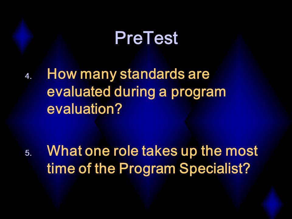 PreTest 4. How many standards are evaluated during a program evaluation.