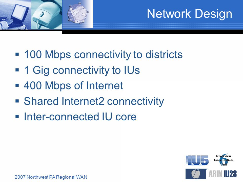2007 Northwest PA Regional WAN Network Design  100 Mbps connectivity to districts  1 Gig connectivity to IUs  400 Mbps of Internet  Shared Internet2 connectivity  Inter-connected IU core