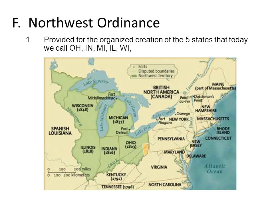 F. Northwest Ordinance 1.Provided for the organized creation of the 5 states that today we call OH, IN, MI, IL, WI,