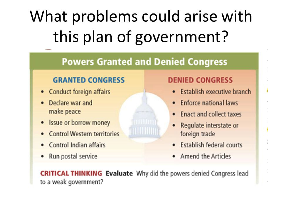 What problems could arise with this plan of government