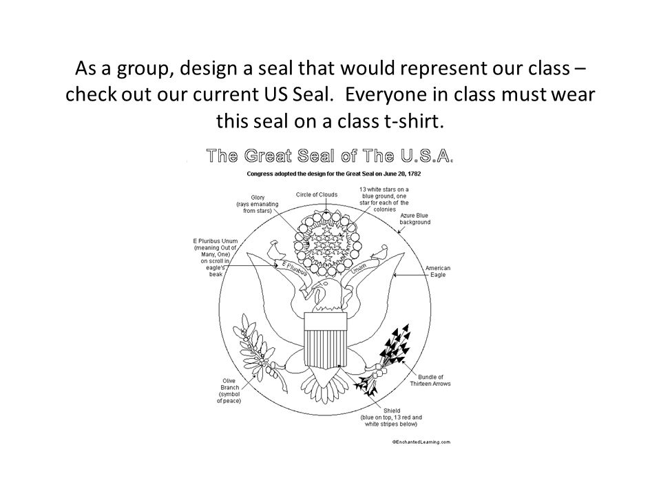 As a group, design a seal that would represent our class – check out our current US Seal.