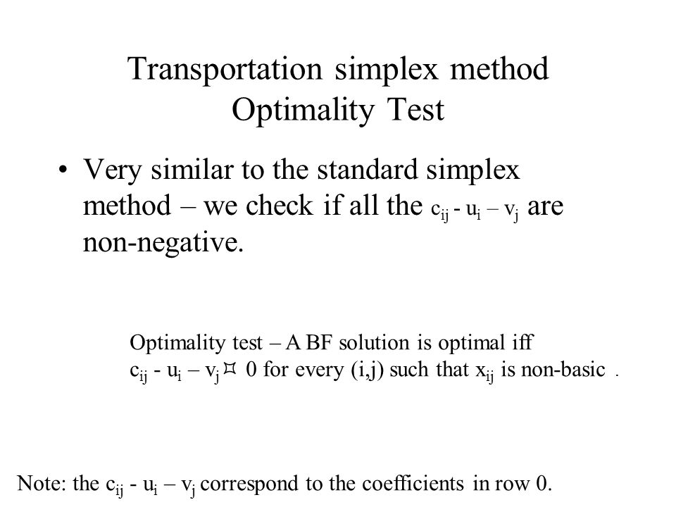 Very similar to the standard simplex method – we check if all the c ij - u i – v j are non-negative.