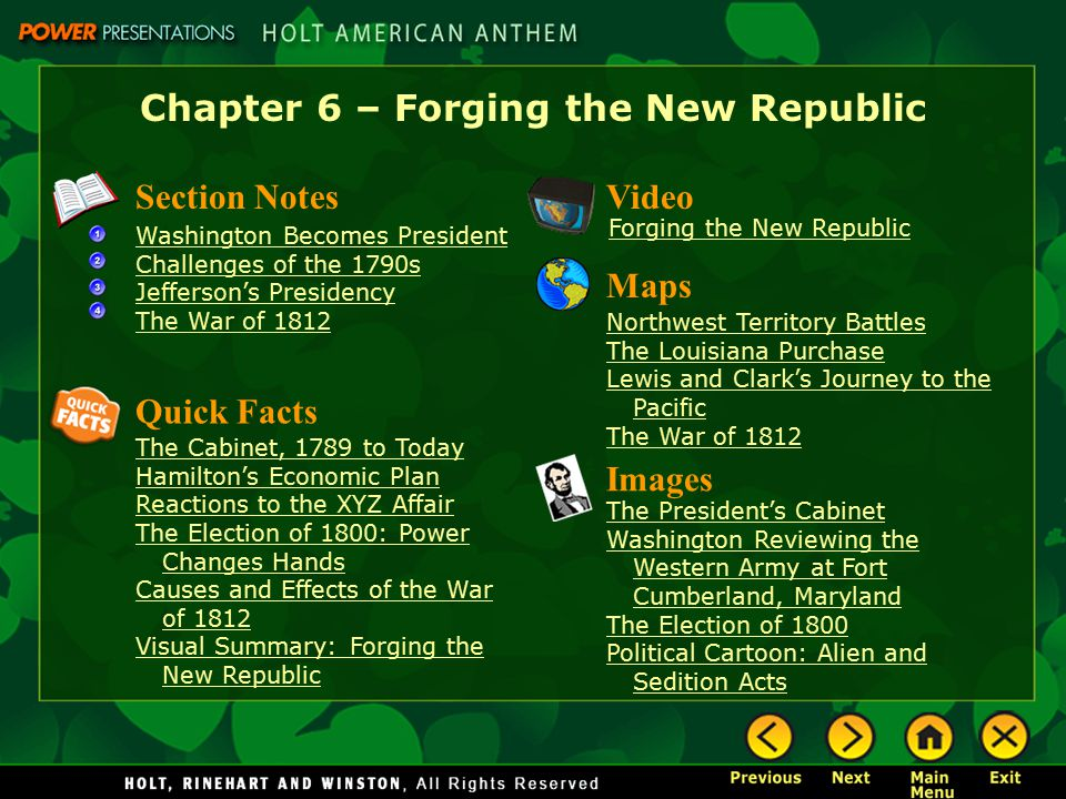 Chapter 6 – Forging the New Republic Section Notes Washington Becomes President Challenges of the 1790s Jefferson's Presidency The War of 1812 Video I