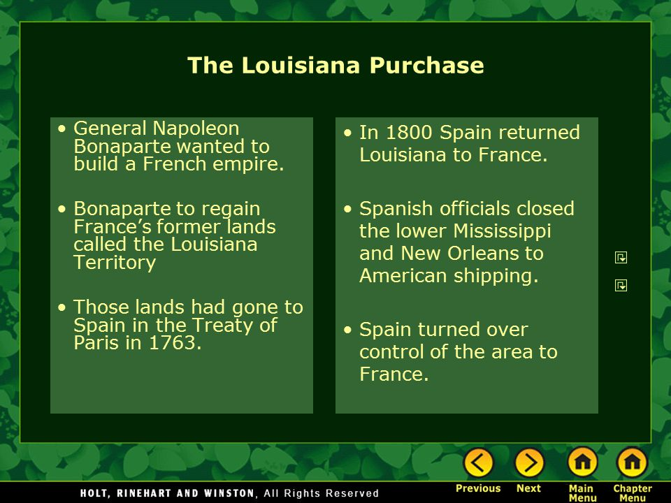 The Louisiana Purchase General Napoleon Bonaparte wanted to build a French empire. Bonaparte to regain France's former lands called the Louisiana Terr