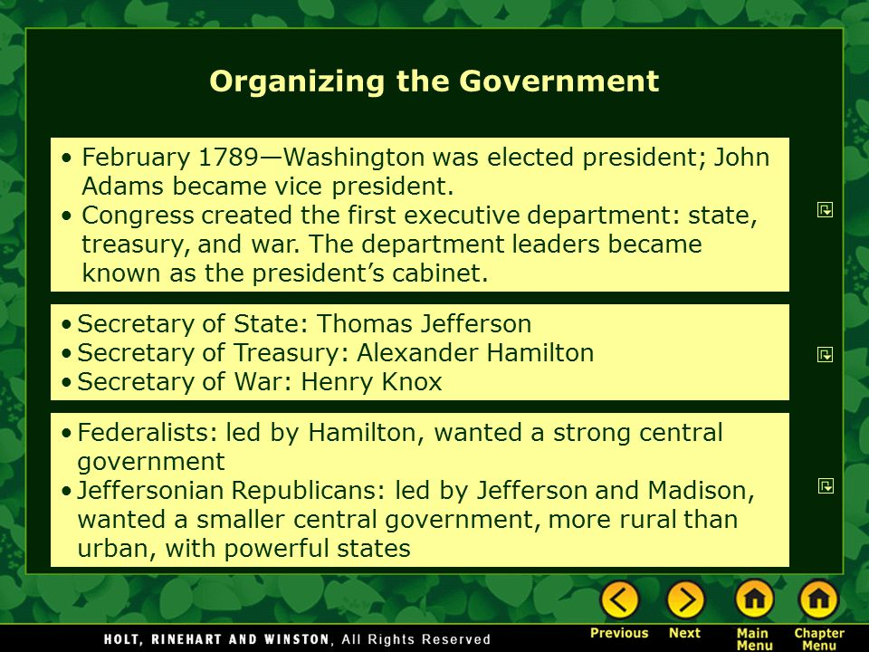 Organizing the Government February 1789—Washington was elected president; John Adams became vice president. Congress created the first executive depar