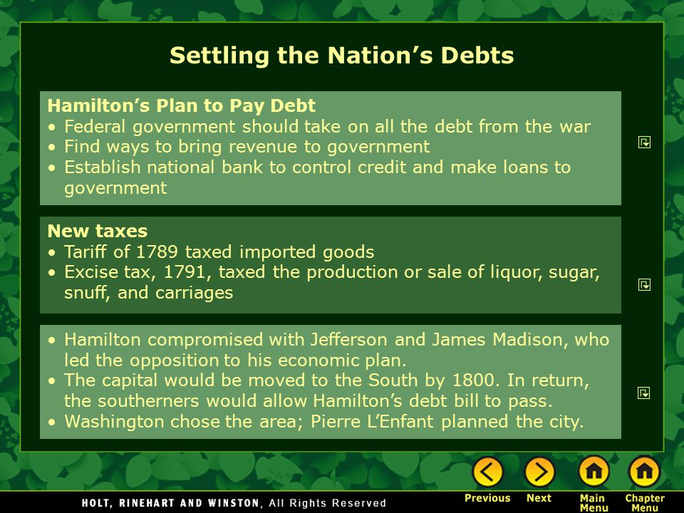 Settling the Nation's Debts Hamilton's Plan to Pay Debt Federal government should take on all the debt from the war Find ways to bring revenue to gove