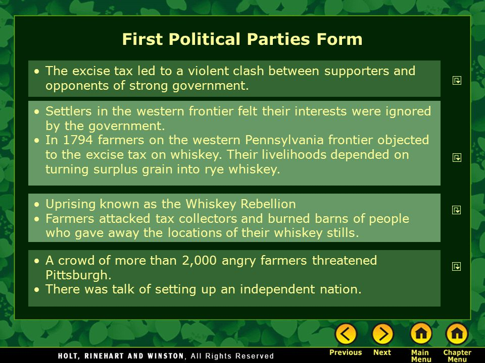 First Political Parties Form Settlers in the western frontier felt their interests were ignored by the government. In 1794 farmers on the western Penn