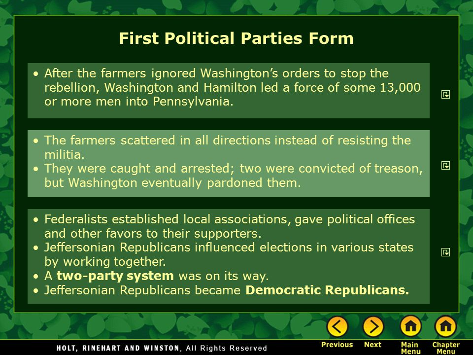 First Political Parties Form The farmers scattered in all directions instead of resisting the militia. They were caught and arrested; two were convict