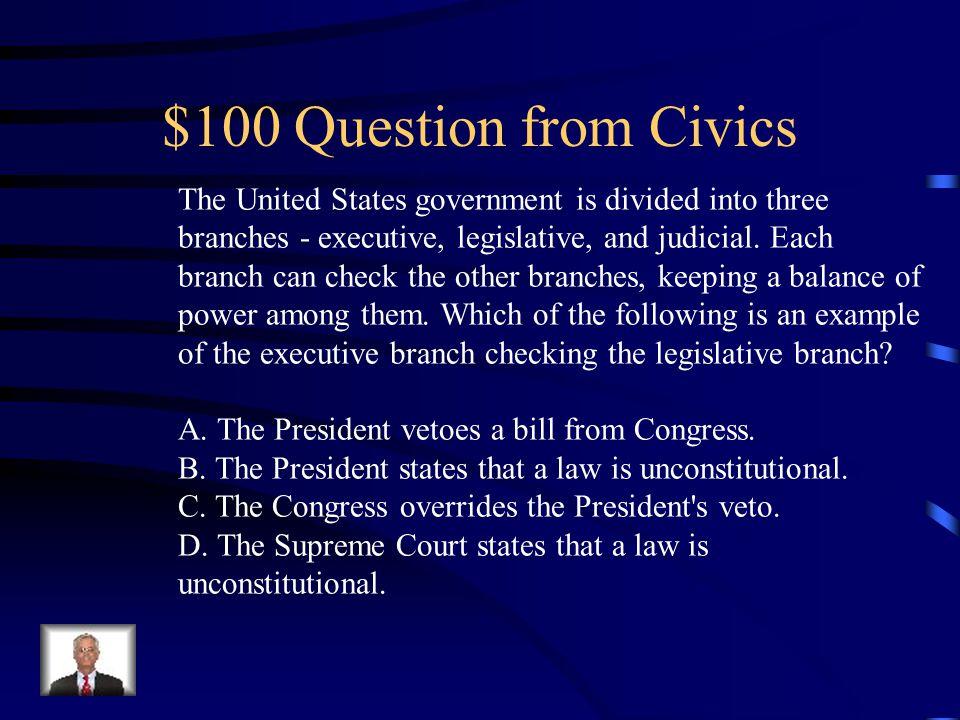 Jeopardy Civics Core Skills EconomicsGeography History Q $100 Q $200 Q $300 Q $400 Q $500 Q $100 Q $200 Q $300 Q $400 Q $500 Final Jeopardy