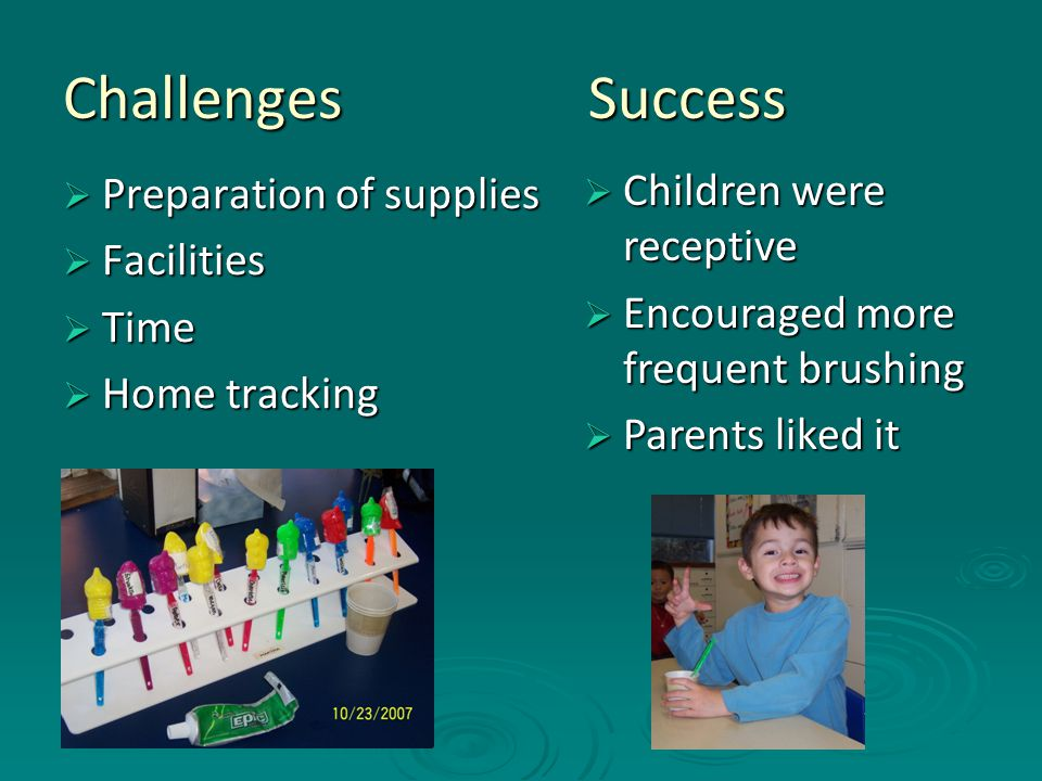 Challenges Success  Preparation of supplies  Facilities  Time  Home tracking  Children were receptive  Encouraged more frequent brushing  Paren
