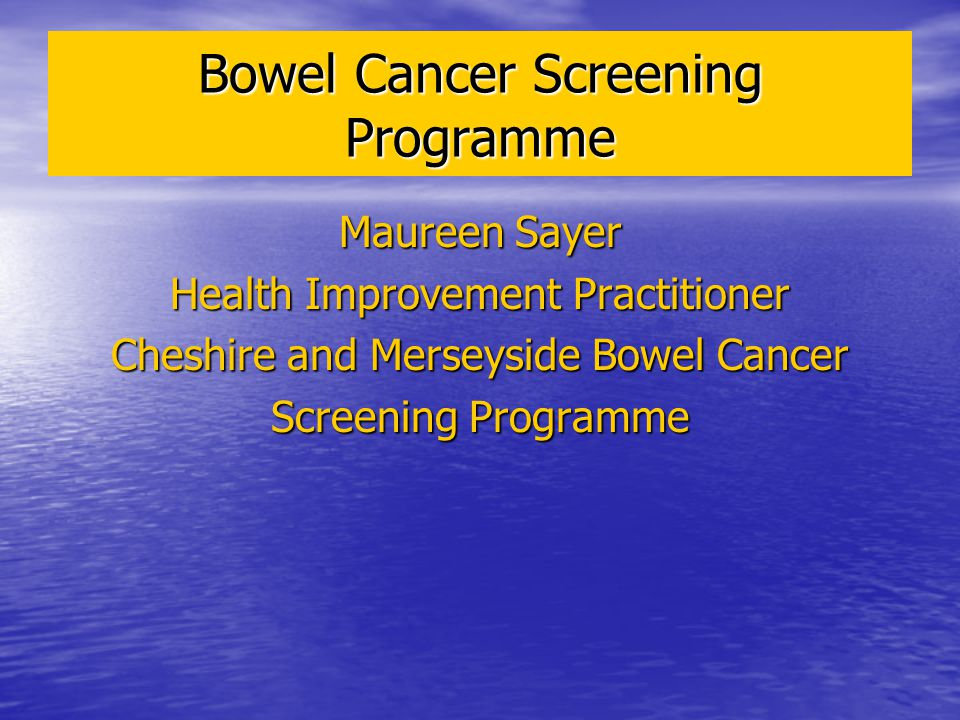 Bowel Cancer Screening Programme Maureen Sayer Health Improvement Practitioner Cheshire and Merseyside Bowel Cancer Screening Programme