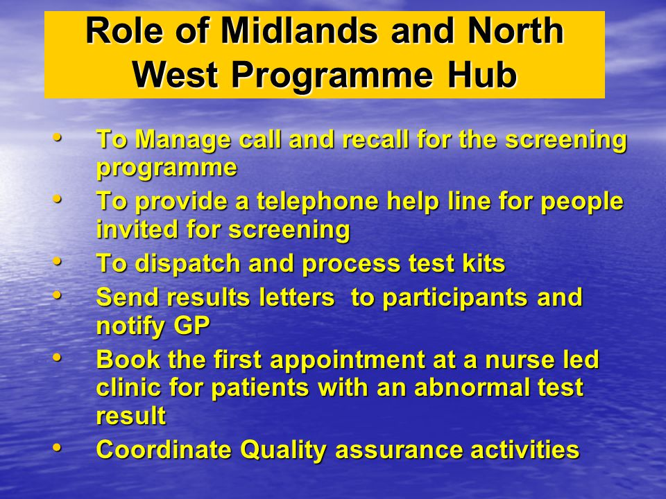 Role of Midlands and North West Programme Hub To Manage call and recall for the screening programme To Manage call and recall for the screening progra