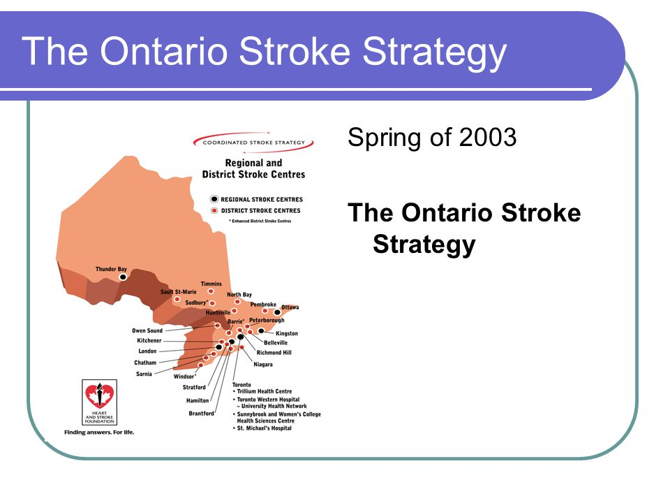 The Ontario Stroke Strategy Spring of 2003 The Ontario Stroke Strategy
