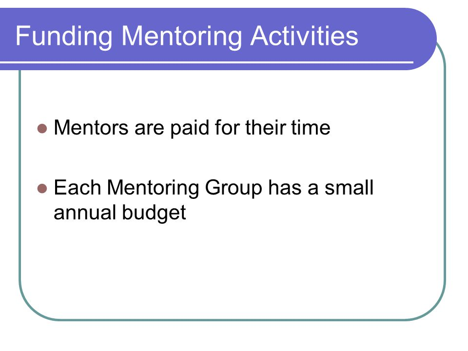 Funding Mentoring Activities Mentors are paid for their time Each Mentoring Group has a small annual budget