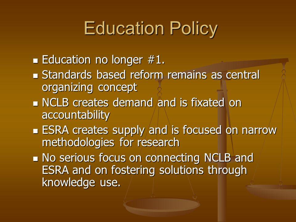 Education Policy Education Policy Education no longer #1. Education no longer #1. Standards based reform remains as central organizing concept Standar