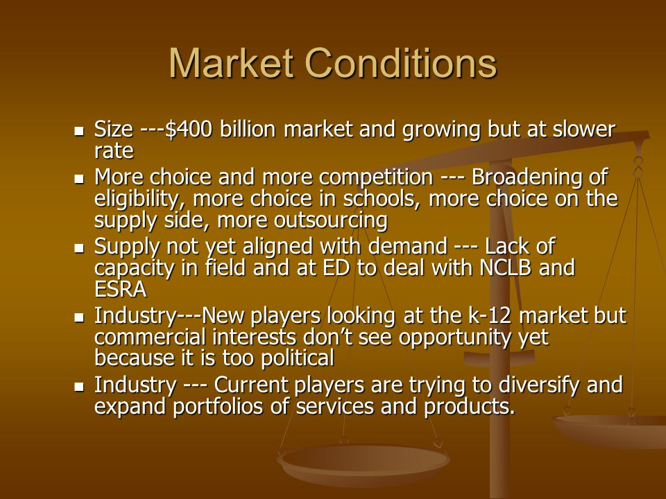 Market Conditions Size ---$400 billion market and growing but at slower rate Size ---$400 billion market and growing but at slower rate More choice and more competition --- Broadening of eligibility, more choice in schools, more choice on the supply side, more outsourcing More choice and more competition --- Broadening of eligibility, more choice in schools, more choice on the supply side, more outsourcing Supply not yet aligned with demand --- Lack of capacity in field and at ED to deal with NCLB and ESRA Supply not yet aligned with demand --- Lack of capacity in field and at ED to deal with NCLB and ESRA Industry---New players looking at the k-12 market but commercial interests don't see opportunity yet because it is too political Industry---New players looking at the k-12 market but commercial interests don't see opportunity yet because it is too political Industry --- Current players are trying to diversify and expand portfolios of services and products.