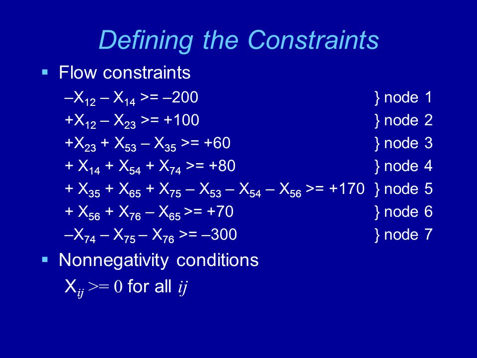 Defining the Constraints  Flow constraints –X 12 – X 14 >= –200} node 1 +X 12 – X 23 >= +100} node 2 +X 23 + X 53 – X 35 >= +60} node 3 + X 14 + X 54 + X 74 >= +80} node 4 + X 35 + X 65 + X 75 – X 53 – X 54 – X 56 >= +170} node 5 + X 56 + X 76 – X 65 >= +70} node 6 –X 74 – X 75 – X 76 >= –300} node 7  Nonnegativity conditions X ij >= 0 for all ij