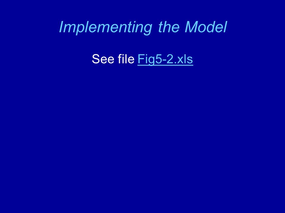Implementing the Model See file Fig5-2.xlsFig5-2.xls