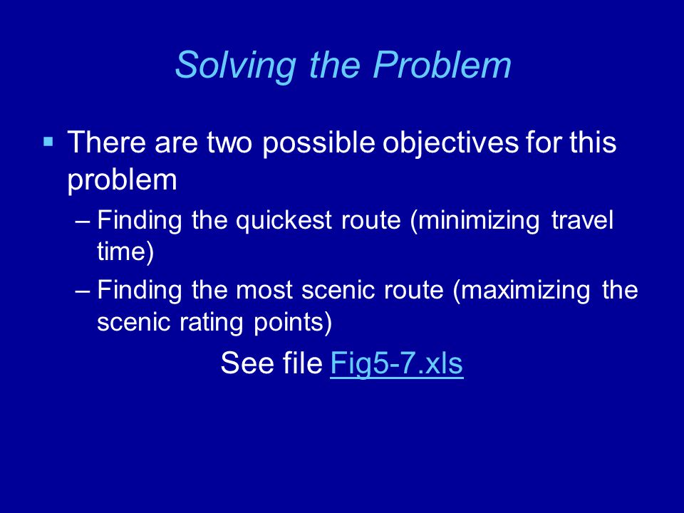 Solving the Problem  There are two possible objectives for this problem –Finding the quickest route (minimizing travel time) –Finding the most scenic route (maximizing the scenic rating points) See file Fig5-7.xlsFig5-7.xls