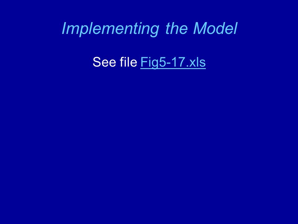 Implementing the Model See file Fig5-17.xlsFig5-17.xls