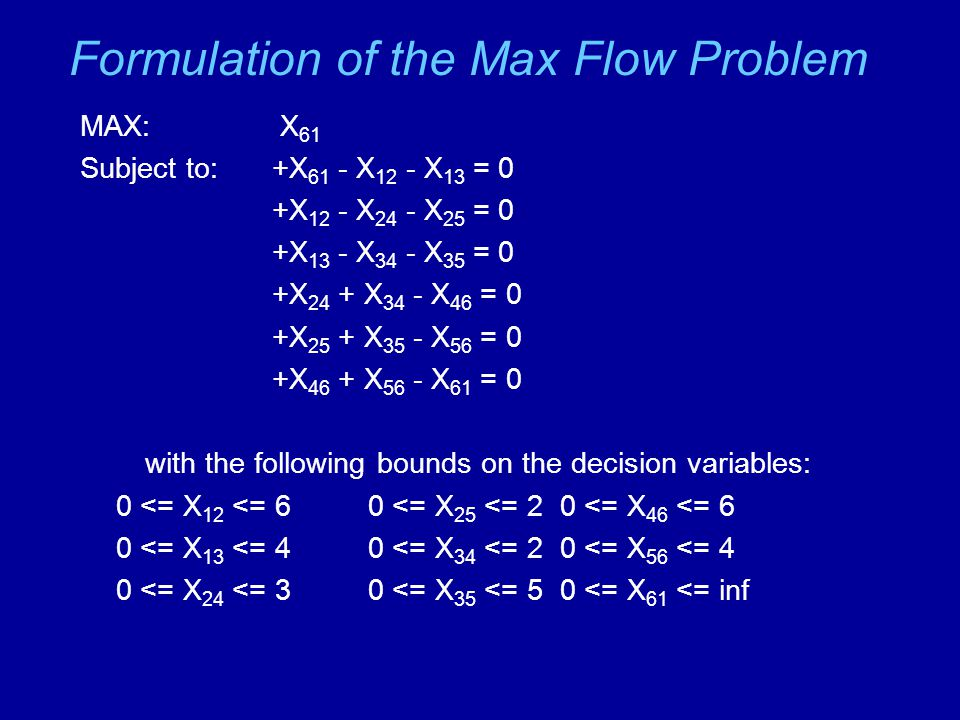 Formulation of the Max Flow Problem MAX: X 61 Subject to:+X 61 - X 12 - X 13 = 0 +X 12 - X 24 - X 25 = 0 +X 13 - X 34 - X 35 = 0 +X 24 + X 34 - X 46 = 0 +X 25 + X 35 - X 56 = 0 +X 46 + X 56 - X 61 = 0 with the following bounds on the decision variables: 0 <= X 12 <= 60 <= X 25 <= 20 <= X 46 <= 6 0 <= X 13 <= 40 <= X 34 <= 20 <= X 56 <= 4 0 <= X 24 <= 30 <= X 35 <= 50 <= X 61 <= inf