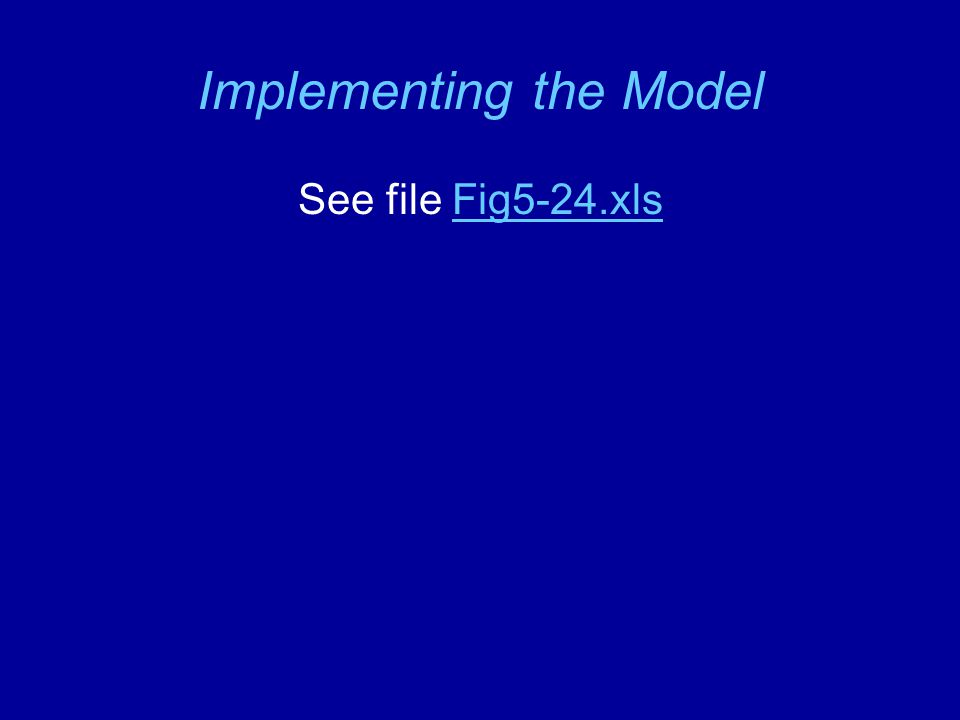 Implementing the Model See file Fig5-24.xlsFig5-24.xls