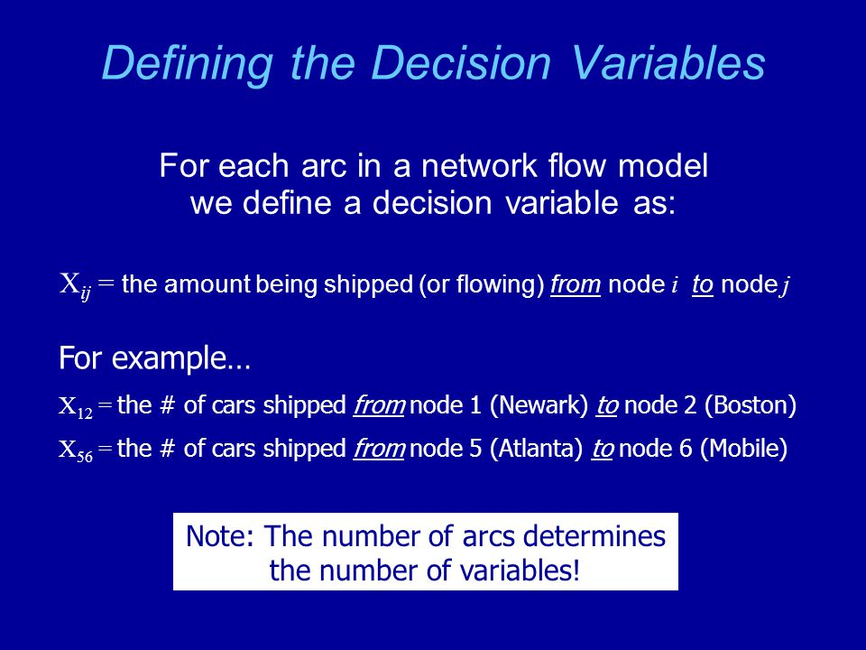 Defining the Decision Variables For each arc in a network flow model we define a decision variable as: X ij = the amount being shipped (or flowing) from node i to node j For example… X 12 = the # of cars shipped from node 1 (Newark) to node 2 (Boston) X 56 = the # of cars shipped from node 5 (Atlanta) to node 6 (Mobile) Note: The number of arcs determines the number of variables!