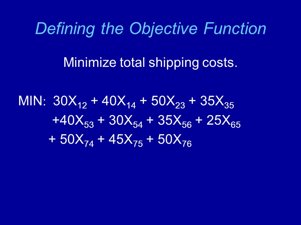 Defining the Objective Function Minimize total shipping costs.