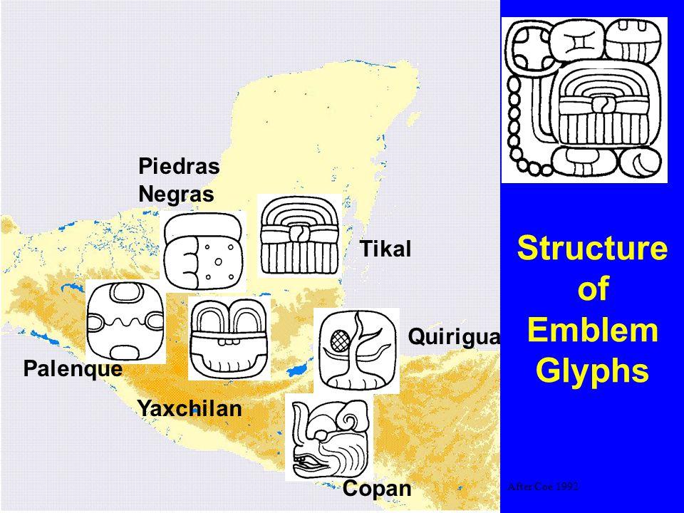 Main sign Copan Quirigua Tikal Yaxchilan Piedras Negras Palenque Structure of Emblem Glyphs After Coe 1992