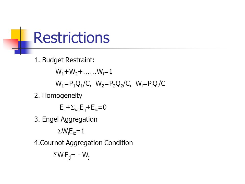 Restrictions 1.