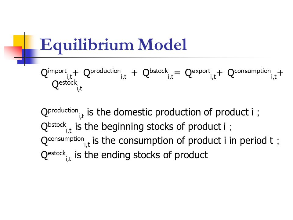 Equilibrium Model Q import i,t + Q production i,t + Q bstock i,t = Q export i,t + Q consumption i,t + Q estock i,t Q production i,t is the domestic production of product i ; Q bstock i,t is the beginning stocks of product i ; Q consumption i,t is the consumption of product i in period t ; Q estock i,t is the ending stocks of product