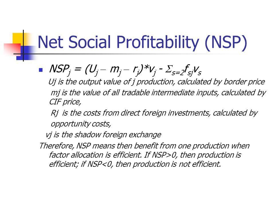 Adjusted Net Social Profitability (A_NSP) NSP j = (U j – m j – r j )*v j -  s=2 f sj v s + E j where E j is the Externality, if the externality is positive then E j › 0; if the externality is negative then E j ‹ 0; if there is no externality then E j = 0.