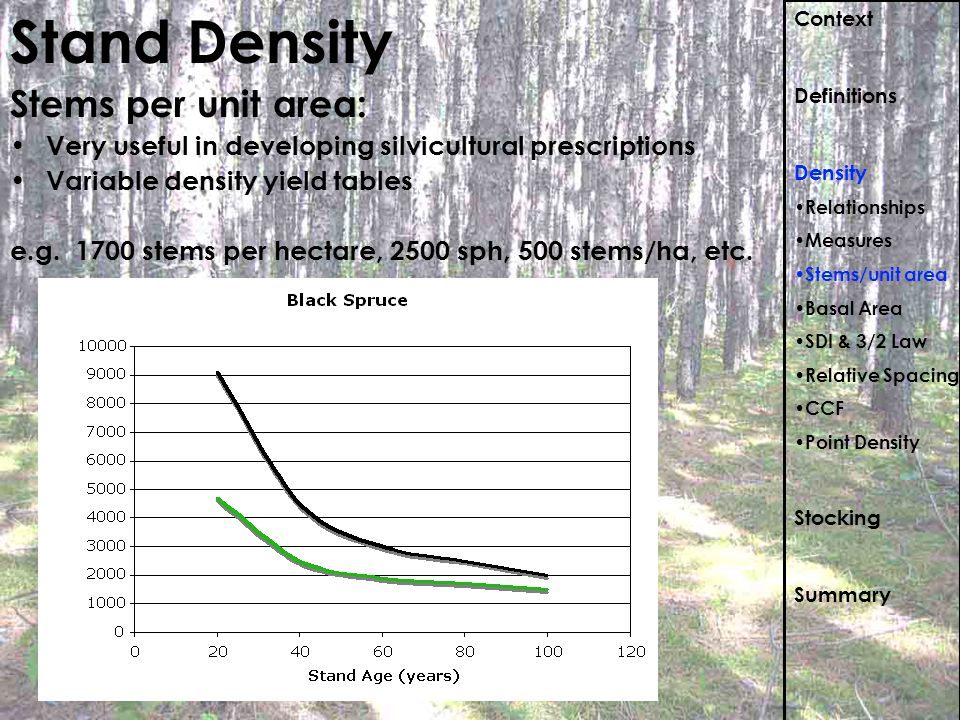 Stand Density Stems per unit area: Very useful in developing silvicultural prescriptions Variable density yield tables e.g. 1700 stems per hectare, 25