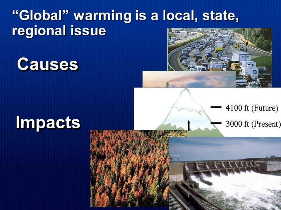 Global warming is a local, state, regional issue Impacts Impacts Causes Causes