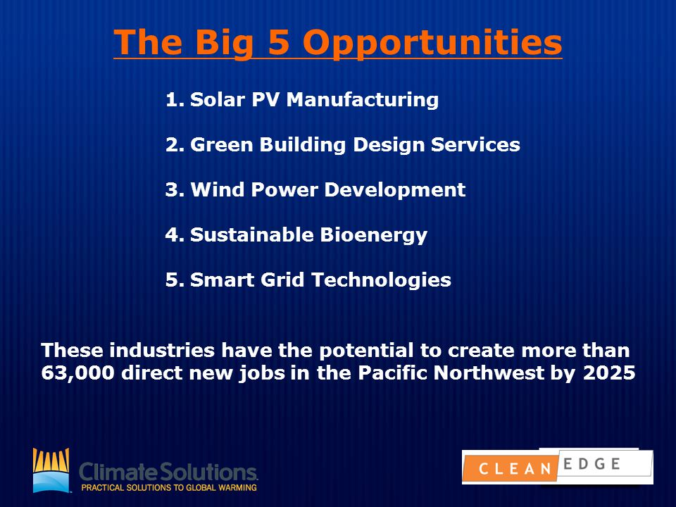 The Big 5 Opportunities 1.Solar PV Manufacturing 2.Green Building Design Services 3.Wind Power Development 4.Sustainable Bioenergy 5.Smart Grid Techno