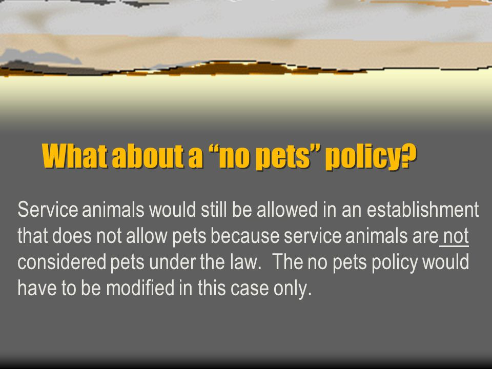 """What about a """"no pets"""" policy? Service animals would still be allowed in an establishment that does not allow pets because service animals are not con"""