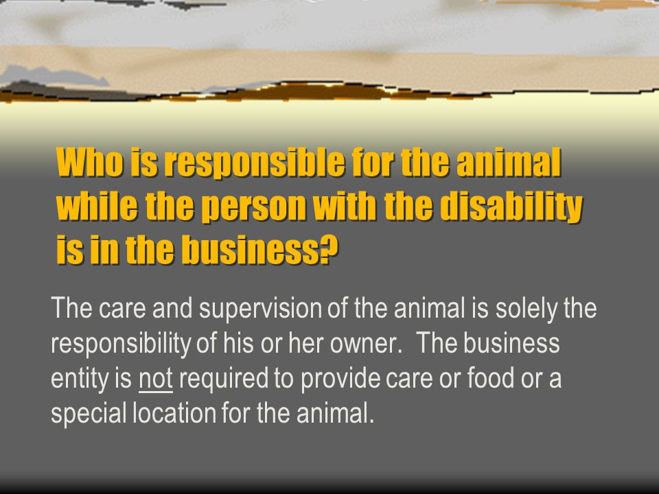 Who is responsible for the animal while the person with the disability is in the business? The care and supervision of the animal is solely the respon