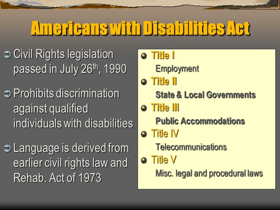 Under the ADA, what is the definition of disability.