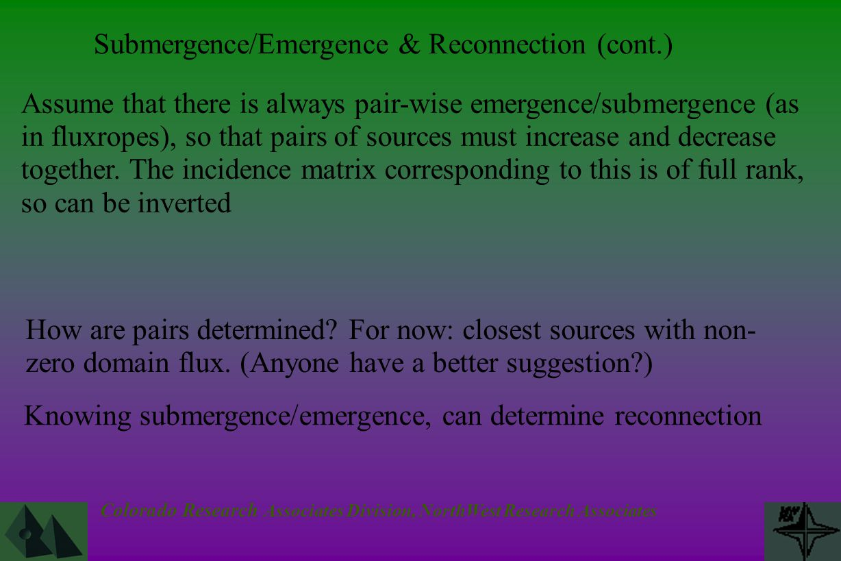 Colorado Research Associates Division, NorthWest Research Associates Assume that there is always pair-wise emergence/submergence (as in fluxropes), so