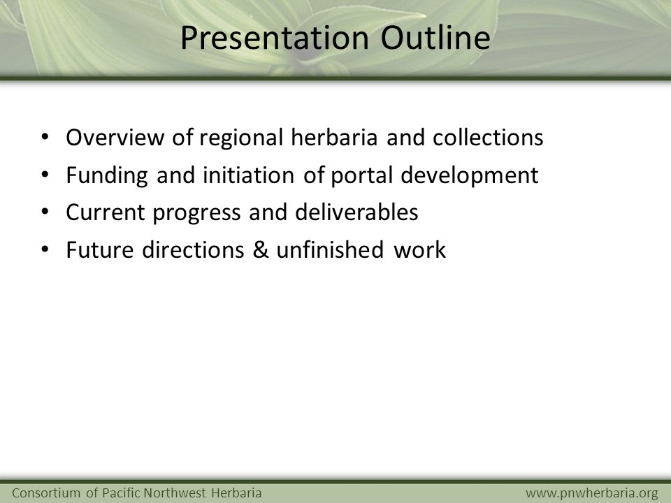 Presentation Outline Overview of regional herbaria and collections Funding and initiation of portal development Current progress and deliverables Futu
