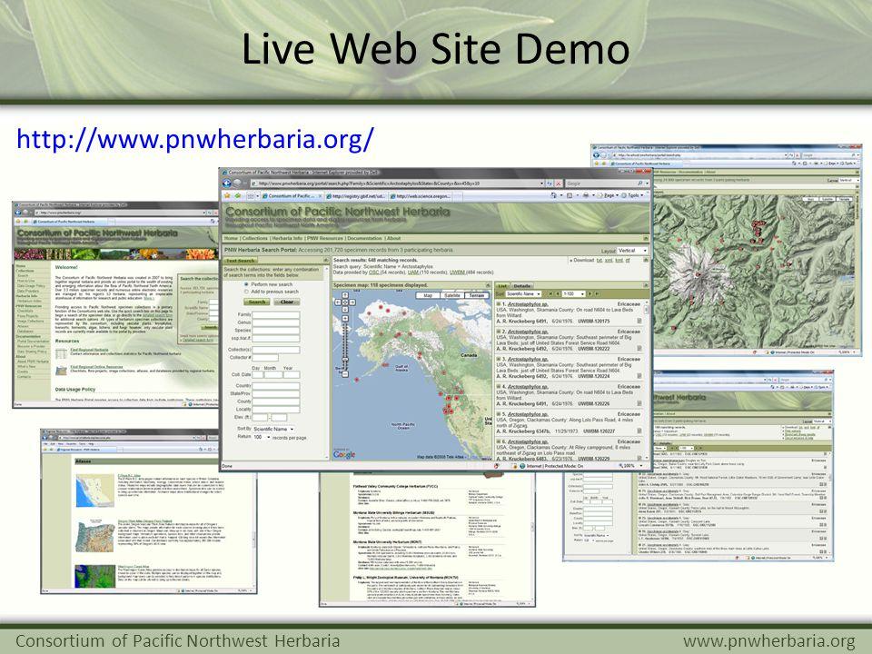 Live Web Site Demo Consortium of Pacific Northwest Herbariawww.pnwherbaria.org http://www.pnwherbaria.org/