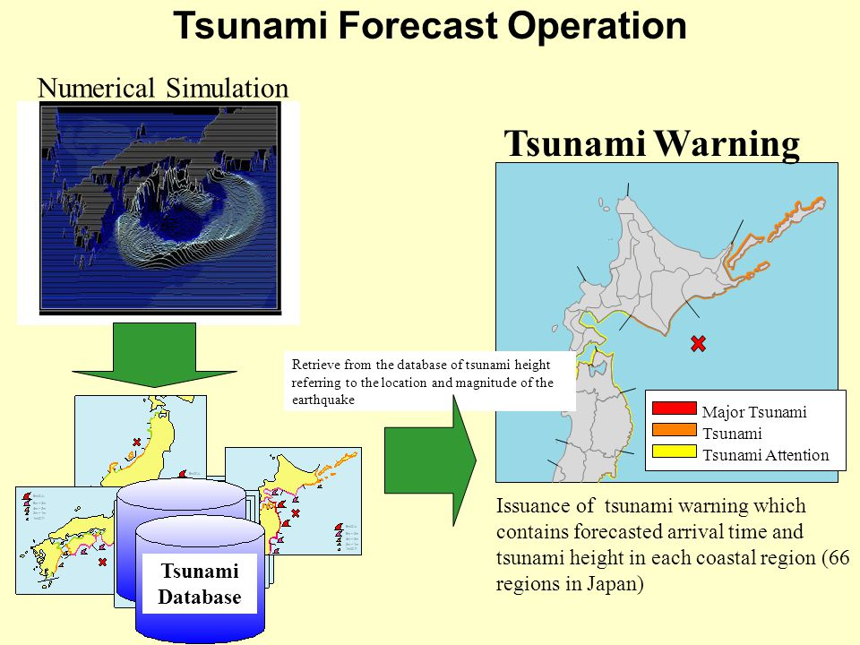 Major Tsunami Tsunami Tsunami Attention Tsunami Forecast Operation Issuance of tsunami warning which contains forecasted arrival time and tsunami height in each coastal region (66 regions in Japan) Tsunami Database Tsunami Warning Retrieve from the database of tsunami height referring to the location and magnitude of the earthquake Numerical Simulation